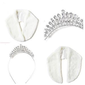Austrian Crystal Silver Tiara & Faux Fur Scarf